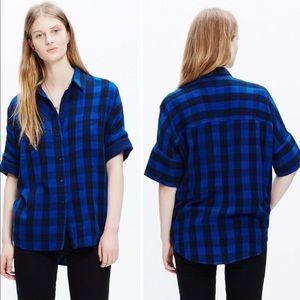 Madewell Courie Buffalo Plaid Blue Flannel Shirt